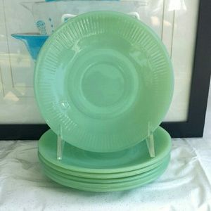 Vintage Fire-King Jade-ite Jane-Ray Saucer